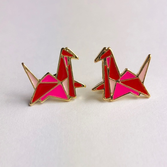 Anthropologie Jewelry | New Dainty Origami Crane Metal Stud ... | 580x580